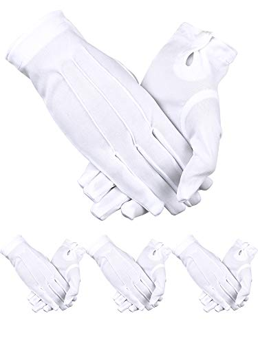 Sumind 4 Pairs Adult Uniform Gloves Spandex Gloves Dress Glove for Police Formal Tuxedo Guard Parade Costume (White E)