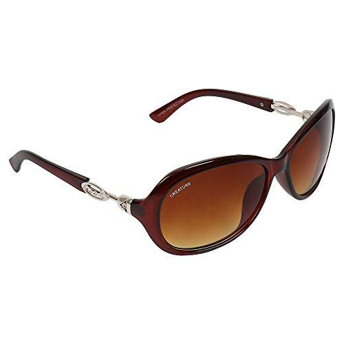 Creature Gaga Cat-Eye Oversized Sunglasses For Girls(Lens-Brown  Frame-Brown  GAGA-012)