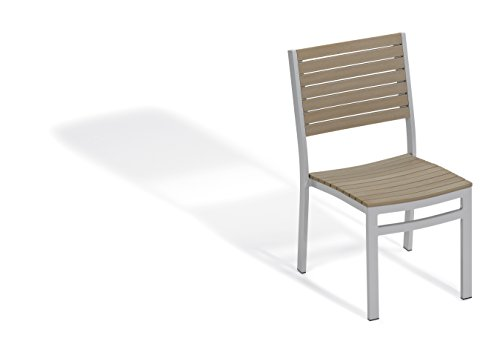 Oxford Garden Travira Side Chair - Powder Coated Aluminum Frame - Vintage Tekwood Seat - Set of 2 (Oxford Side Chair Classic Garden)