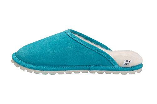 Pantofole Da Donna In Pelle Di Pecora Rusnak Scarpe Da Casa / Caldo Fodera In Lana D68p Turchese