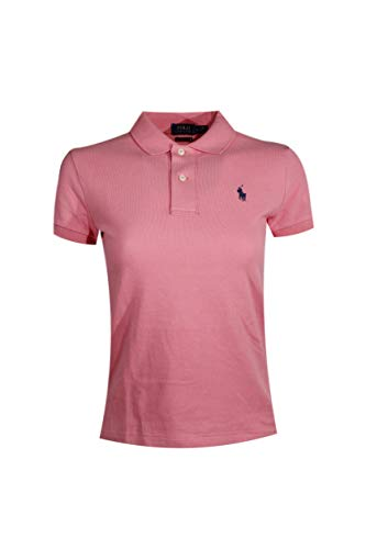 Ralph Lauren Skinny Fit Women Logo Polo Shirt (X-Small, Coral Pink (Navy Pony))