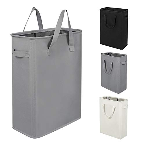 ZERO JET LAG Slim Laundry Hamper with Handles Thin Laundry Bin Collapsible Dirty Clothes Basket Narrow Laundry Bag Foldable Dirty Hamper(21 inches,Grey) (Small Hamper)