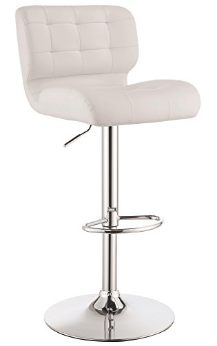 Upholstered Adjustable Bar Stools Chrome and White Set of 2
