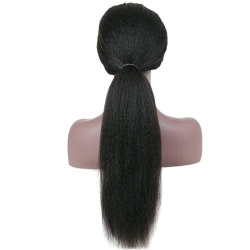 20 inch Italian Yaki Human Hair 13×4 Lace Frontal Wigs 150% Density Brazilian Virgin Kinky Straight Hair Wigs With Baby Hair for African Americans Yaki Straight Lace Frontal With Clips