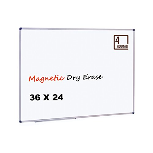 4 Thought Magnetic Dry Erase Board, 36 X 24 Inches Whiteboard Wall-Mounted with Aluminium Frame and Removable Marker Tray, Magnetic Message and Memo Bulletin Board of Commercial Quality