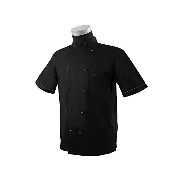 MISEMIYA Chaquetas Chef Bar Restaurante Cocinero Mangas Cortas Camisa de utilidades de Trabajo para Hombre 5