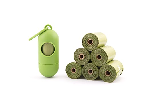 Dog Poop Bag Dispenser - Biodegradable, Lavender Scented, Leak Proof, Heavy Duty, Compact Size - 8 Rolls/160 Bags by Boohyaa