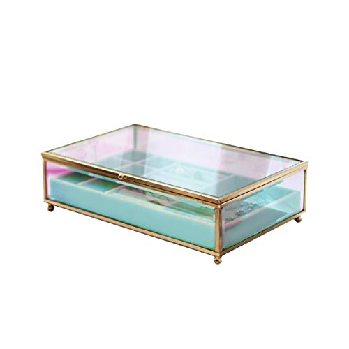 Moosy Life Iridescent Glass Jewelry Box with Flannel Tray & Hinged Lid, Aurora Borealis Series (L)