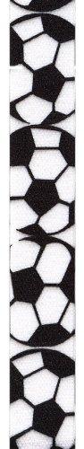 Soccer Ribbon - Offray Grosgrain Soccer Craft Ribbon, 7/8-Inch Wide by 25-Yard Spool, Black/White
