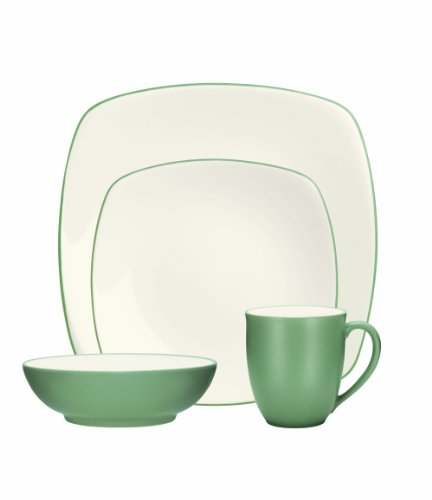 (Noritake 4-Piece Colorwave Square Place Setting, Green)