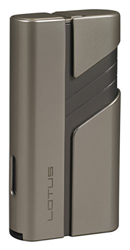 Lotus Hercules Twin Pinpoint Lighter w/ Cigar Punch - Light Gunmetal & Dark - Light Cigars