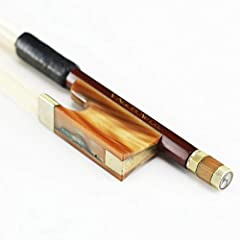 The bow is round stick and made of very beautiful pernambuco. Adopting premium unbleached Mongolia horsehair, it will offer you sweet sound. You can find beautiful red ox horn frog with traditional parisian eyes, Colorful mother-of-pearl Slid...