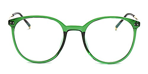 Slocyclub Womens Inspired Wayfarer Titanium Circle Round Clear Lens - Glasses Frames Green