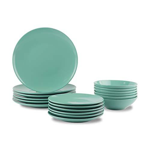 AmazonBasics 18 Piece Stoneware Dinnerware Set Mint Service for 6