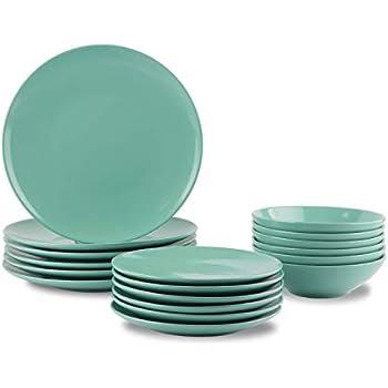 AmazonBasics 18-Piece Stoneware Dinnerware Set - Mint, Service for 6