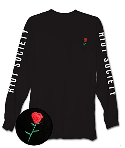 Riot Society Men's Rose Embroidery Long Sleeve Logo T-Shirt - Black, XX-Large