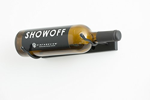 VintageView VS-K Vino Styx 1 Bottle Wall Mounted Metal Wine Rack in Satin Black (1 Row - Single Bottle Rack Wine