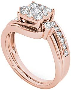 10k Gold 0.75cttw Diamond Solitaire Halo Engagement Bridal Ring Wedding Band Set (I2-Clarity-H-I-Color) Fine Jewelry for Women