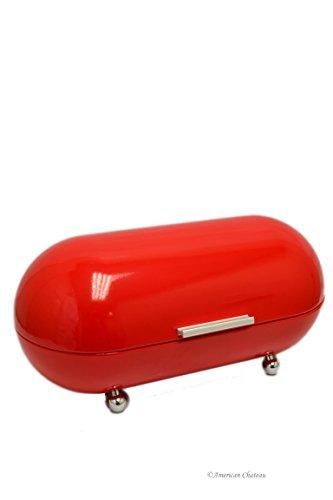 Vintage Fire Engine Red Retro 1960'S Capsule Metal Kitchen Bread Bin Basket (Chateau Bread)