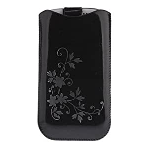 Flower Pattern Smooth Leather Pouches Case for Samsung Galaxy S3 I9300 , Black