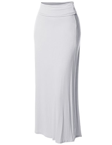 Stylish Fold Over Flare Long Maxi Skirt - Made in USA Ivory M -