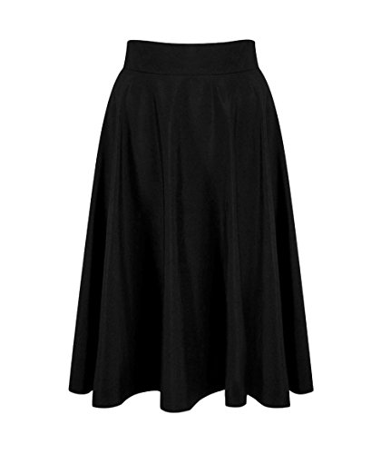 t New Femmes Mode Couleur Unie Plisse Jupe de Plage Elegante Rtro Longueur Genou Jupes de Fte Soire Bal Noir