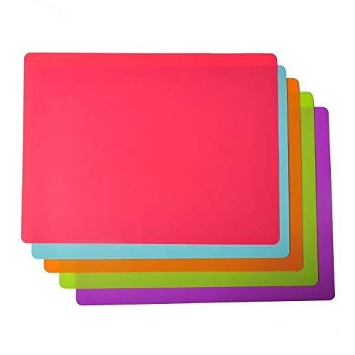 KindGa Silicone Dining Placemat for Kids and Babies 100% Food-Grade and Heat Resistant Silicone Kitchen Table Baking Mat, 5 Pack