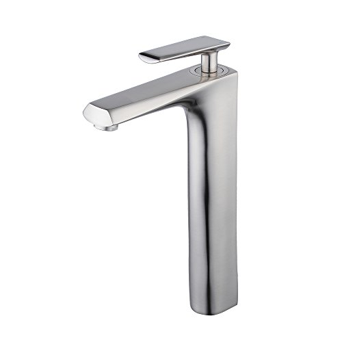 Raised Vessel Faucet - Beelee brush nickel commercial bathroom tall faucet for raised vessel sink bowl,single handle,one hole,copper