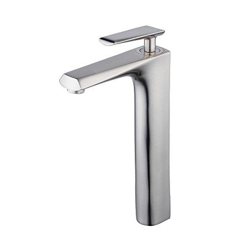 Beelee brush nickel commercial bathroom tall faucet for raised vessel sink bowl,single handle,one (Raised Vessel Faucet)