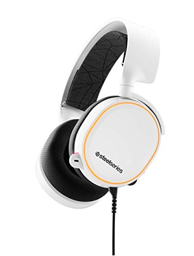 SteelSeries Arctis 5 (2019 Edition) RGB Illuminated Gaming Headset with DTS Headphone:X v2.0 Surround for PC and PlayStation 4 - White (Renewed)