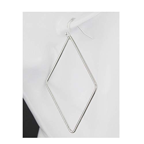 Silver Earrings Geometric Diamond Outline Shape Lightweight Earrings 2.75