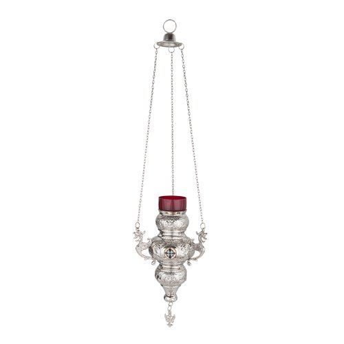 Orthodox Greek Christian Bronze Hanging Votive Vigil Oil Lamp with Chain and Red Glass - 189n
