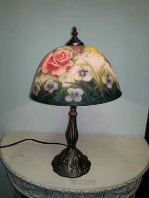 Reverse Hand Painting Glass Shade Rose Flower Pattern Table Desk Lamp Light 12x12x19 Amazon Com