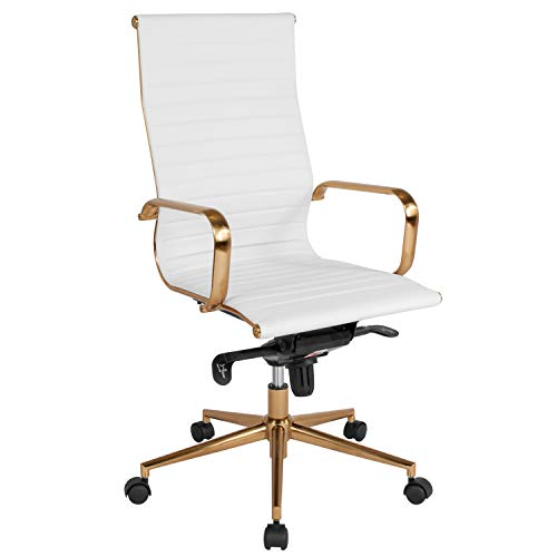 - Flash Furniture BT-9826H-WH-GD-GG Leather Executive Swivels, White Gold Frame