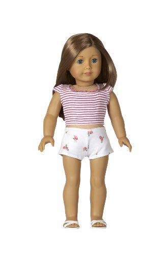 Pj's with T-shirt, Shorts and Slippers - Outfit Fits 18