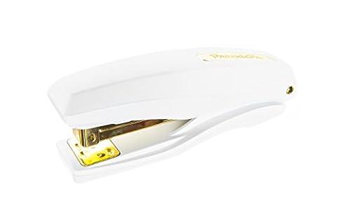 PraxxisPro Ergonomic Office Stapler, Full Strip, 25 Sheet Capacity, Built in Staple Remover, Includes Box of Staples (White (White And Gold Supplies)