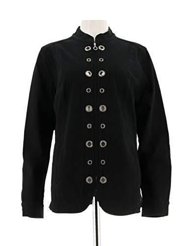 (Quacker Factory DreamJeannes Glam Grommet Jacket Black 2X New A287297)