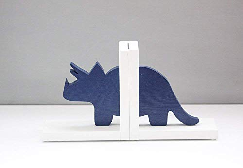 Triceratops Dinosaur Bookends, Navy Dino Book Ends HANDMADE in -
