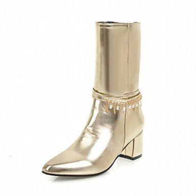 UK4 De Confort Sintética RTRY Chunky Calf US6 Piel Botas Talón Zapatos Novedad 5 Mid De Pu Invierno Señaló Moda 7 Zipper Botas Por amp;Amp; EU37 Otoño Toe Mujer CN37 Parte Boots 5 5 CPCx5qrw