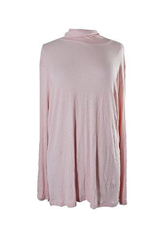 Lauren Ralph Lauren Womens Plus Jersey Ribbed Turtleneck Top Pink 2X by Lauren by Ralph Lauren