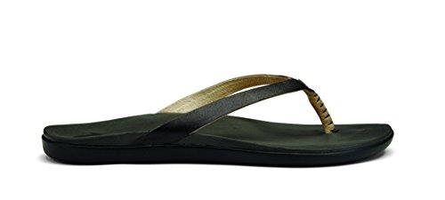 OluKai Ho'opio Leather Sandal – Women's Onyx/Black 10