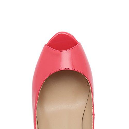 Heels On Women's High Red Shoes Watermelon onlymaker Platform Toe Sexy Stiletto Slip Dress Wedding Peep Pumps Party 0tqRwBd