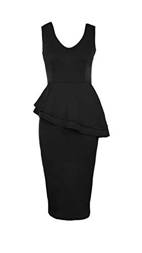 GirlzWalk New Damen Sleeveless Side Slant Schößchen Rüschen Bleistift Bodycon Midi Kleid Schwarz Pmvia0