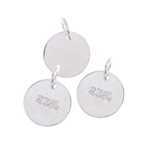 SM SunniMix 925 Sterling Silver Round Blank Stamping Tags Pendants Charms Blanks Coins Findings for Jewelry Making DIY Necklace Bracelets 6/8/10mm - 3 Pieces 6mm