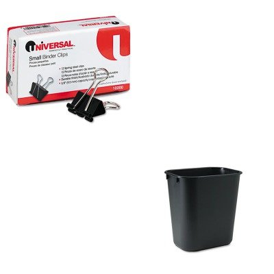KITRCP295500BKUNV10200 - Value Kit - Rubbermaid-Black Soft Molded Plastic Wastebasket, 13 5/8 Quart (RCP295500BK) and Universal Small Binder Clips - Black Soft Wastebaskets Molded Plastic