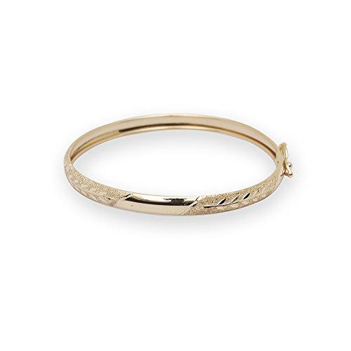 JewelryWeb Solid 10k Yellow Gold 5.5-inch Flexible Baby/Children Bangle Bracelet ()