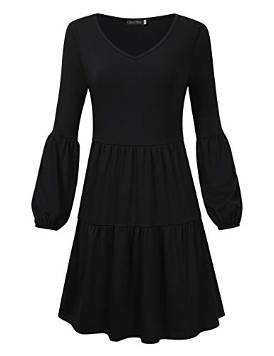 GloryStar Shift Dresses Long Sleeve Swing Tunic Dress Ruffle Dress for Women Black L