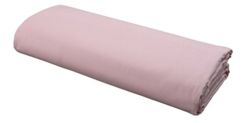 FLAT Sheet by DELANNA 100% Cotton Percale Weave Top Sheet Crisp, Comfortable, Breathable, Soft and Durable (Queen, Rose (220 Percale Pillow Case)