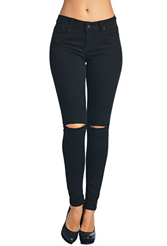 Vialumi Women Juniors Slashed Slit Knee Distressed Ripped Skinny Jeans Black - Distressed Black