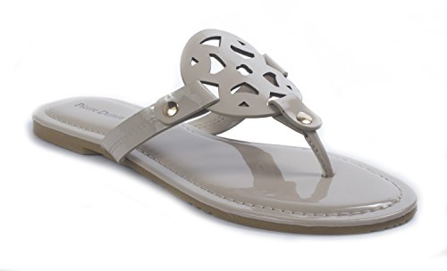 11 Dumas Nude Flats Strap Leather Thong Women's Ornamented Limit Sandals Vegan Pierre T EfFqww1